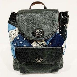 Coach Mini Backpack Black Leather Denim patchwork